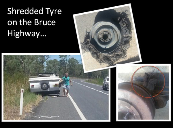 tyre shredded on Bruce Highway