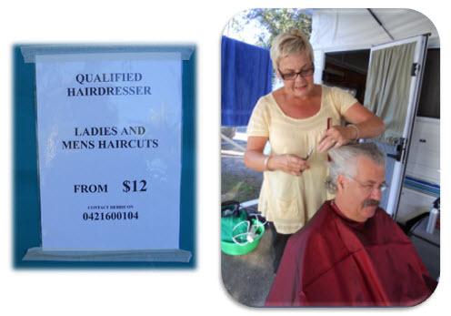 Debbie hard at work as a hairdresser