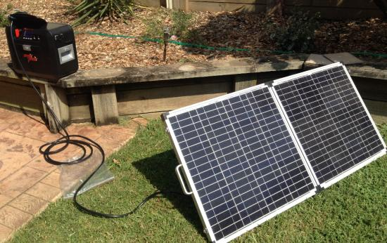 Our ArkPak being charged by our solar panels.