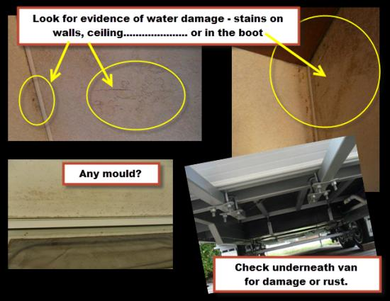 Check for water stains, mould, rust or other damage.