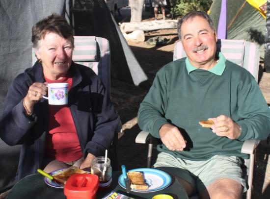 Terry and Doug enjoying breakfast at Winton
