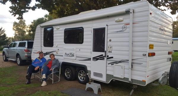 Our new McFlair, at Gundagai Riverside Caravan Park!