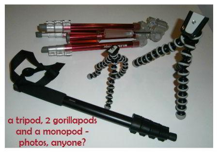 tripod, gorilla pods and monopod