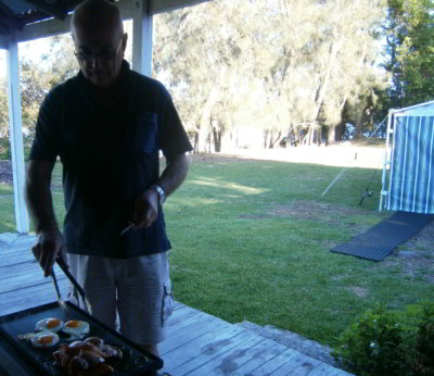 Rob cooking breakfast