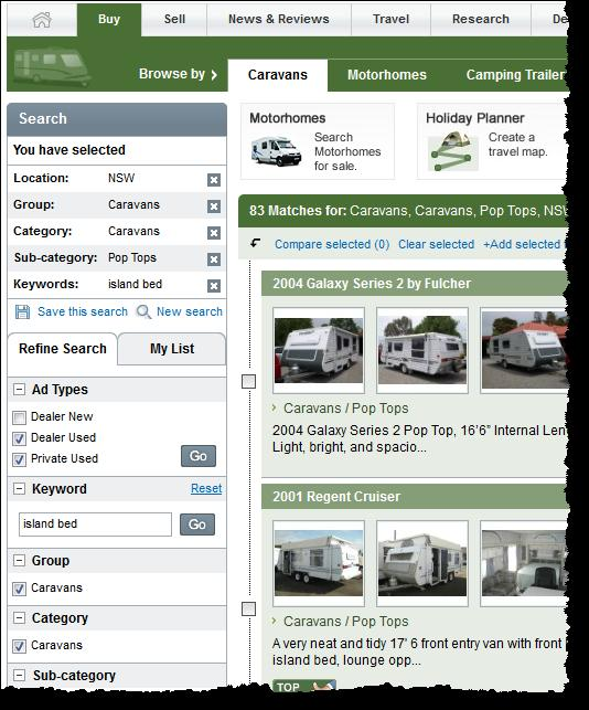 Refine your search on the Caravan and Camping Sales website