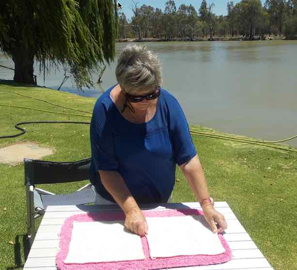 Setting squares out to dry at Robinvale, on the border of NSW/Vic
